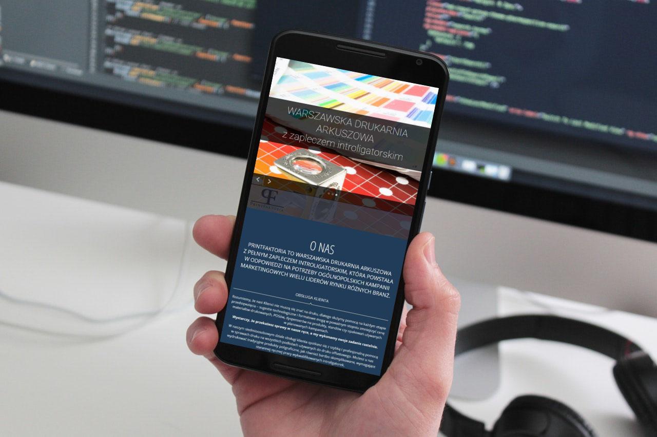 Portfolio BlueSky System: Drukarnia PrintFaktoria - Smartphone