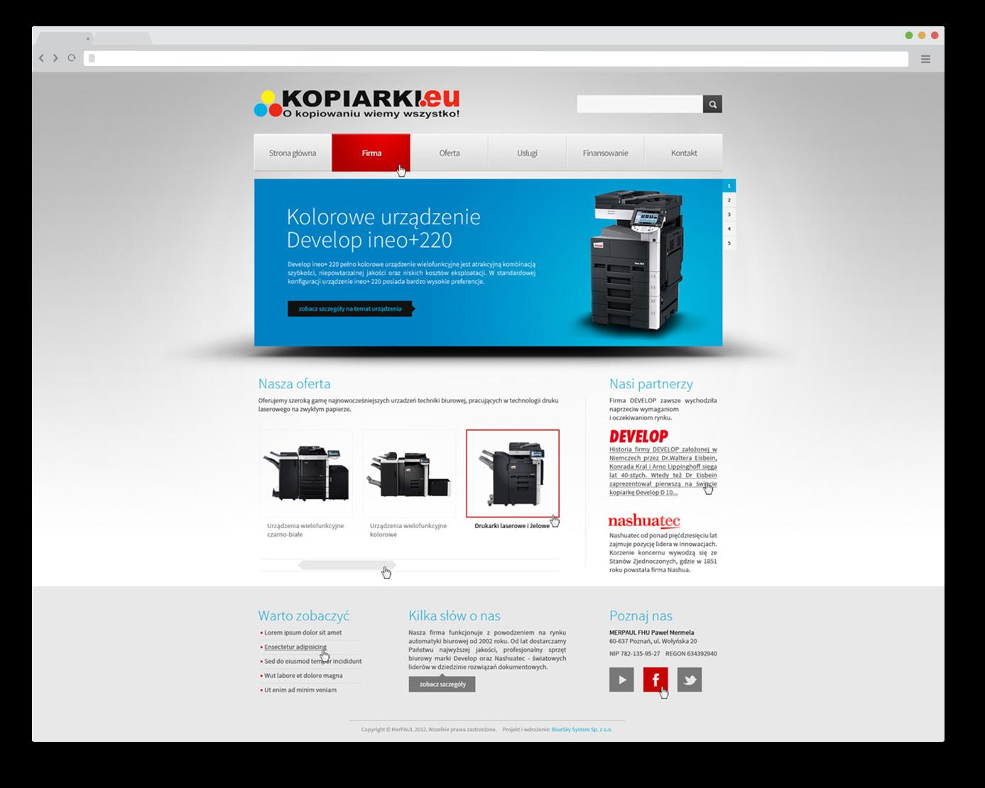 Portfolio BlueSky System: kopiarki.eu - FULL